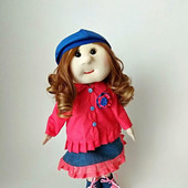 Кукла текстильная в плаще и джинсовом сарафане