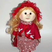 Кукла текстильная ручной работы в платье в горошек