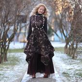Платье-сарафан в стиле бохо шерстяное зимнее
