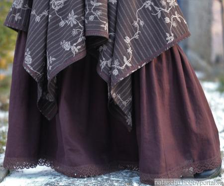 Платье-сарафан в стиле бохо шерстяное зимнее ручной работы на заказ