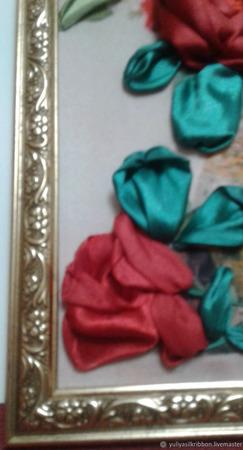 "Вышивка лентами ""Розы в хрустале"" ручной работы на заказ"