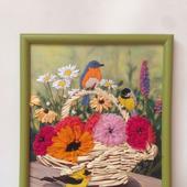 """Вышивка лентами """"Разноцветные птички"""""""
