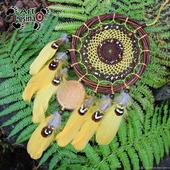 Ловец снов на обруче из ивы с натуральными бусинами