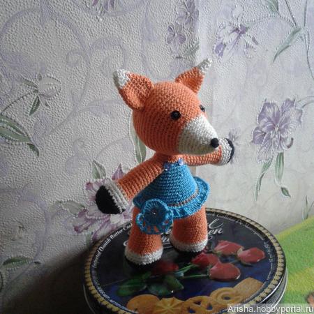 Лисенок игрушка амигуруми в платье ручной работы на заказ