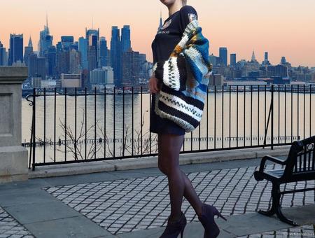 """Вязаный кардиган оверсайз """"Manhattan"""" с оригинальным орнаментом ручной работы на заказ"""