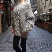 Вязаный свитер оверсайз Палермо с рельефными жгутами