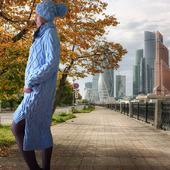 """Вязаное платье теплое в комплекте с шапкой и воротом """"Зимняя Тайна"""""""