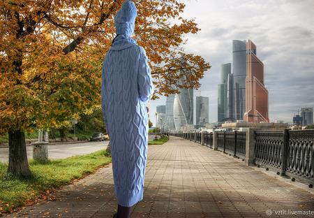 """Вязаное платье теплое в комплекте с шапкой и воротом """"Зимняя Тайна"""" ручной работы на заказ"""