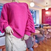 """Вязаный женский свитер """"Водопад Роз"""" оверсайз"""