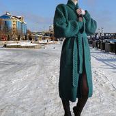 Вязаное пальто кардиган оверсайз Green Square с карманами и поясом