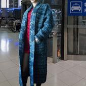 """Вязаное пальто кардиган оверсайз """"Deep Ocean"""" с карманами и поясом"""