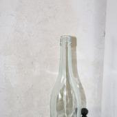 Бутылка стеклянная голубовато-зеленая с крышкой