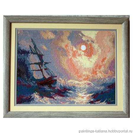Картина «Буря на море ночью» ручной работы на заказ