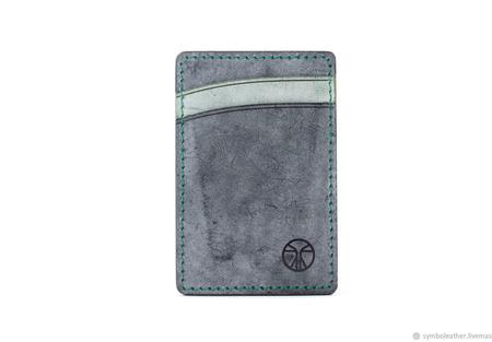 Кожаный картхолдер Черный и зеленый вертикальный ручной работы на заказ