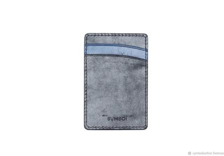 Кожаный картхолдер Черный и синий вертикальный ручной работы на заказ