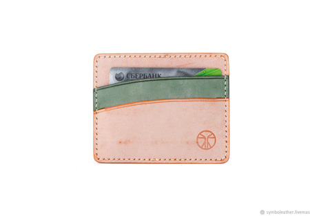 Кожаный картхолдер Мандарин и зеленый горизонтальный ручной работы на заказ