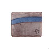 Кожаный картхолдер Коричневый и синий горизонтальный