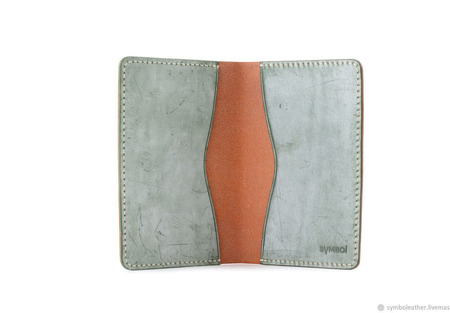 Кожаная обложка для паспорта Мандарин и зеленый ручной работы на заказ