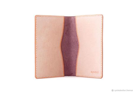 Кожаная обложка для паспорта Лаванда и апельсин ручной работы на заказ