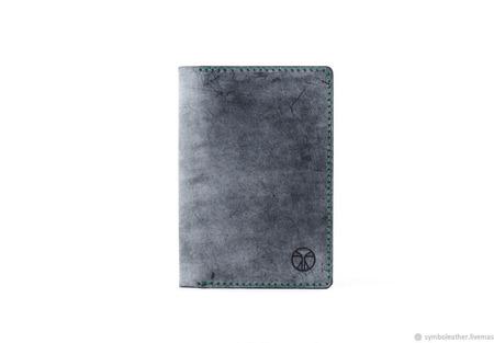 Кожаная обложка для паспорта Черный и зеленый ручной работы на заказ