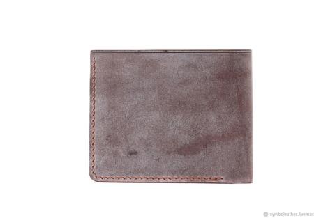 Кожаный кошелек бифолд Коричневый и синий ручной работы на заказ