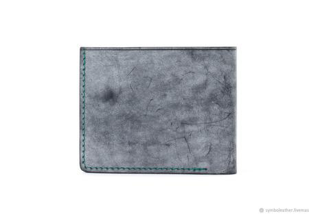 Кожаный кошелек бифолд Черный и зеленый ручной работы на заказ