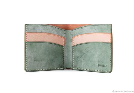 Кожаный кошелек бифолд Мандарин и зеленый ручной работы на заказ