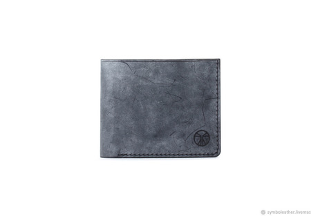 Кожаный кошелек бифолд Черный и синий ручной работы на заказ