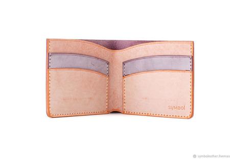 Кожаный кошелек бифолд Лаванда и апельсин ручной работы на заказ
