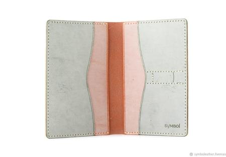 Кожаный кошелек докхолдер Мандарин и зеленый ручной работы на заказ