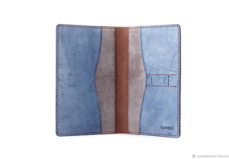 Кожаный кошелек докхолдер Коричневый и синий ручной работы на заказ