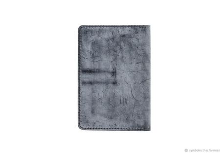 Кожаный кошелек докхолдер Черный и синий ручной работы на заказ