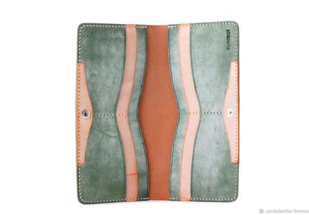 Кожаный кошелек лонгер Мандарин и зеленый ручной работы на заказ