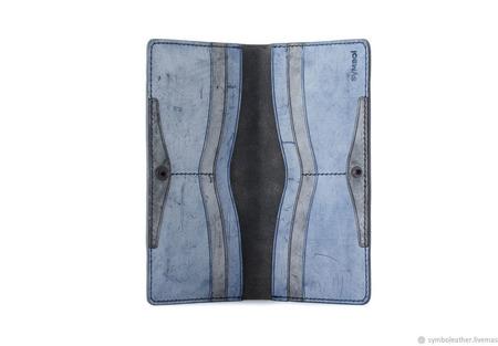 Кожаный кошелек лонгер Черный и синий ручной работы на заказ