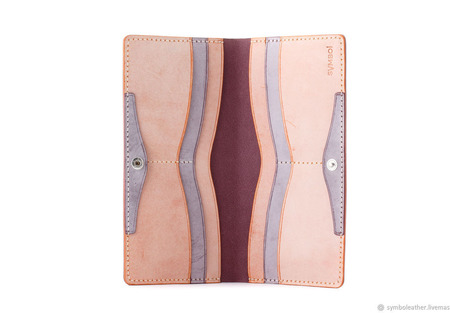 Кожаный кошелек лонгер Лаванда и апельсин ручной работы на заказ