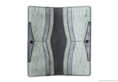 Кожаный кошелек лонгер Черный и зеленый ручной работы на заказ