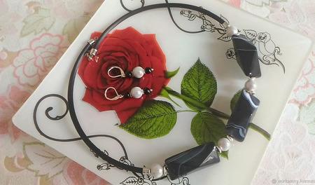 Комплекты украшений: колье чокер и серьги с черным агатом ручной работы на заказ