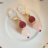 Серьги розовый кварц и халцедон