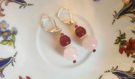 Серьги розовый кварц и халцедон ручной работы на заказ