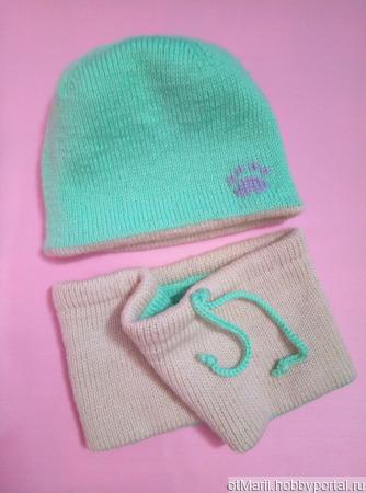 Комплект для девочки - шапочка и снуд ручной работы на заказ