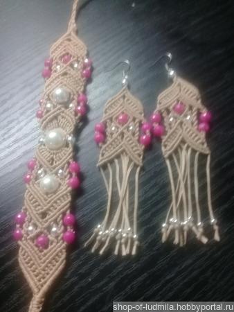 Комплект украшений: браслет + серьги ручной работы на заказ