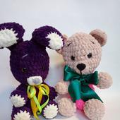 Плюшевые игрушки зайка и мишка