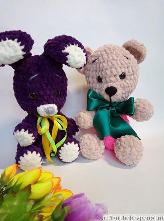 Плюшевые игрушки зайка и мишка ручной работы на заказ