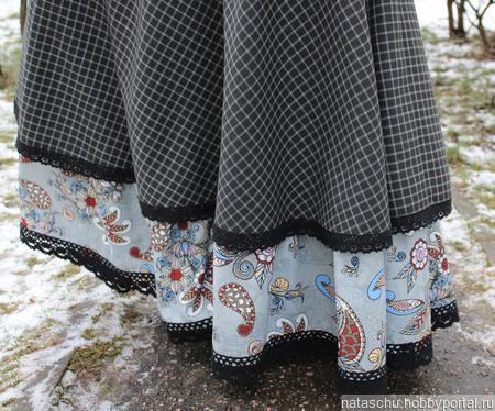 Юбка зимняя шерстяная в клетку в стиле бохо ручной работы на заказ