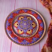 """Декоративная тарелка """"Сказки Ярилы"""" деревянная, точечная роспись"""