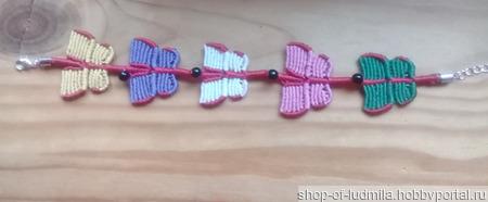 """Браслет """"Бабочки"""" в технике макраме ручной работы на заказ"""