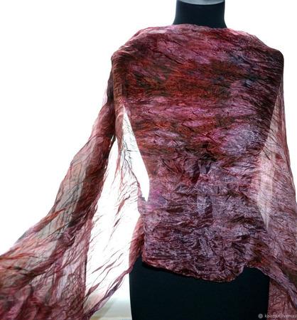 Шелковый шарф широкий длинный женский ручной работы на заказ