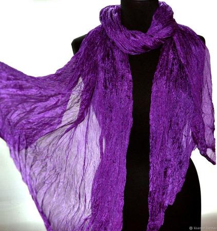 Шарф шелковый женский фиолетовый ручной работы на заказ