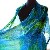 Яркий сине-зеленый шарф