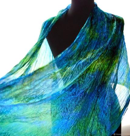 Яркий сине-зеленый шарф ручной работы на заказ